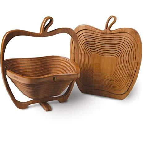Lajawab Apple Shape Foldable Fruit Basket - Wood Color