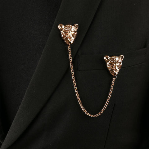 Lion Head Chain brooch pin coat pin lapel pin for men women