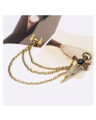 Latest Style Crystal Chain Sword and skull Brooch lapel Pin