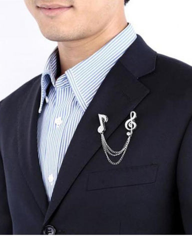 Men Crystal Music Chain Brooch Lapel Pins