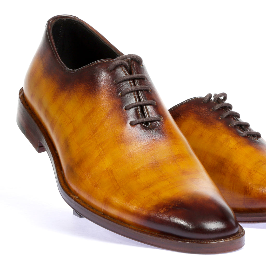 Pure Leather Hand Painted Shoes - Tan