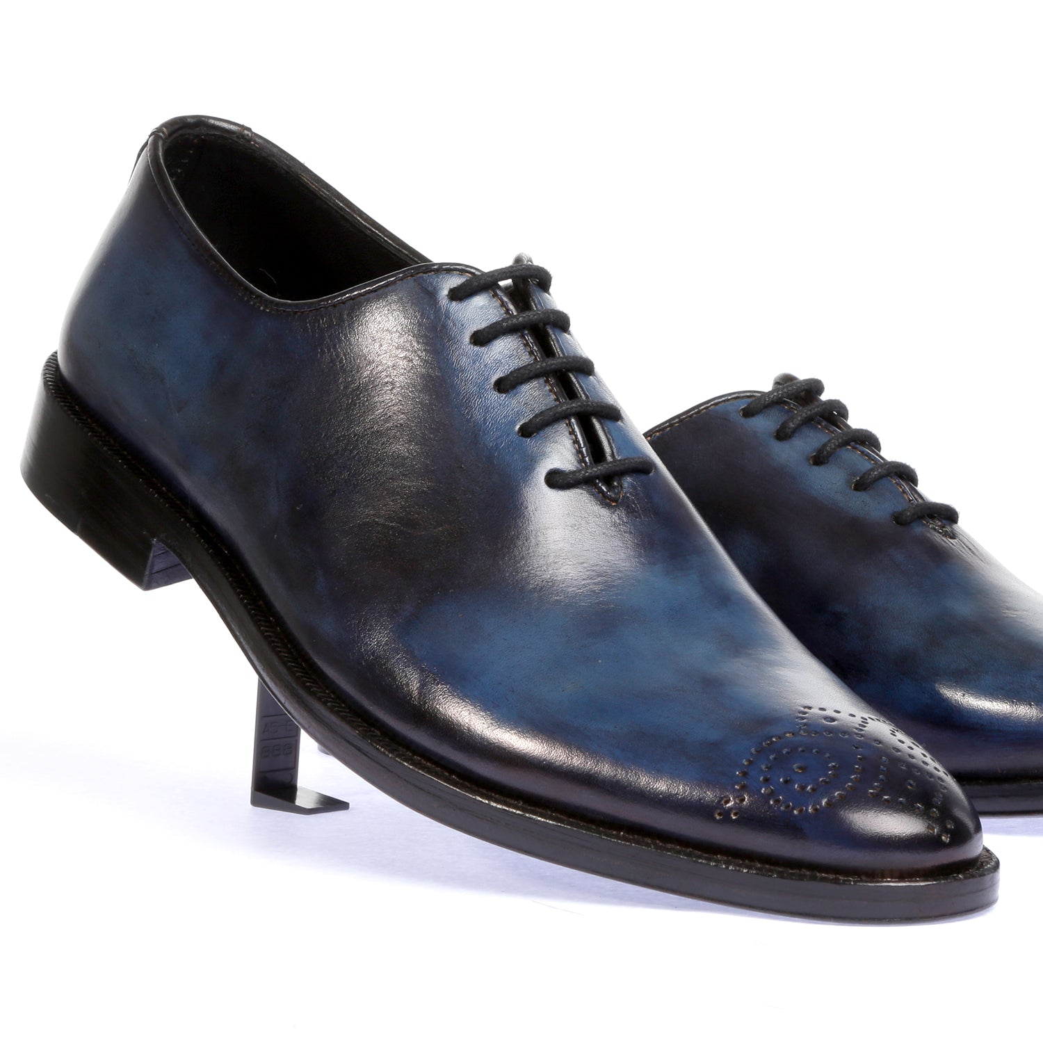 Check Mate- Pure Leather Hand Painted Shoes - Blue/Grey