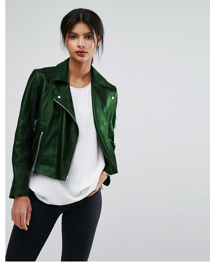 Highstreet Green Faux Leather Jacket For Women