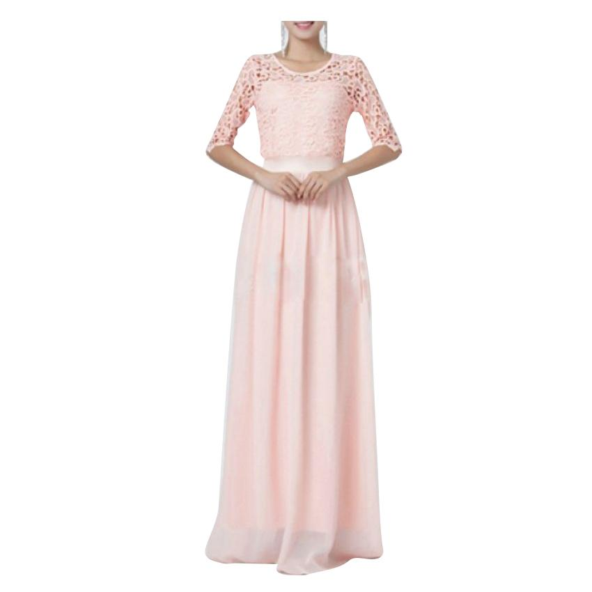 Long Dress with Net Sleeves - Pink
