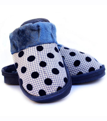 Rhizmal Blue Woolen Yarn Knitted Plush Foam Polka Dot Slippers for Women