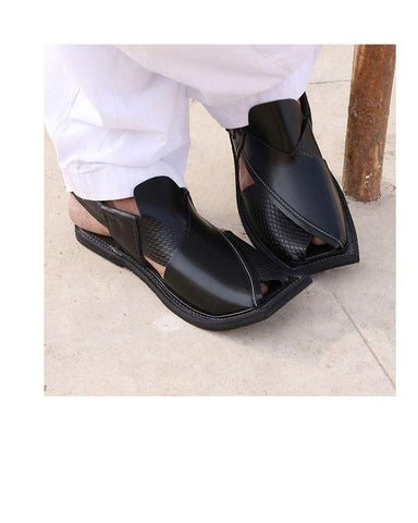Black Pure Leather Peshawari Sandals for Men
