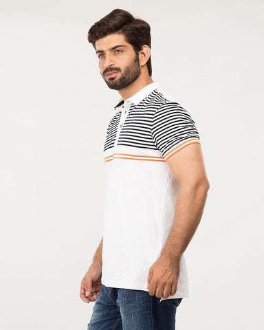 White & Navy Cotton Striper Polo For Men-Cps18-03-S