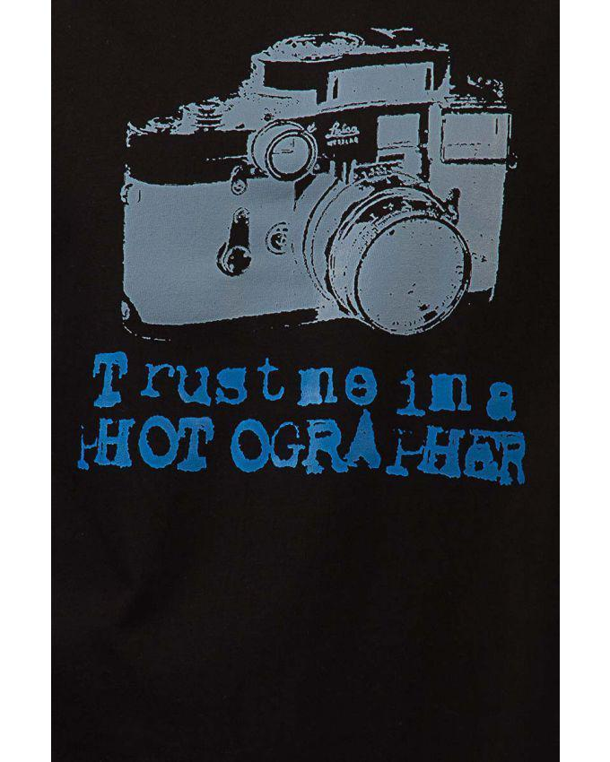 Black Cotton Photographer Graphics T-shirt