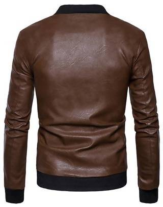 Men's Slim Fit Pu Black Leather Jacket M11