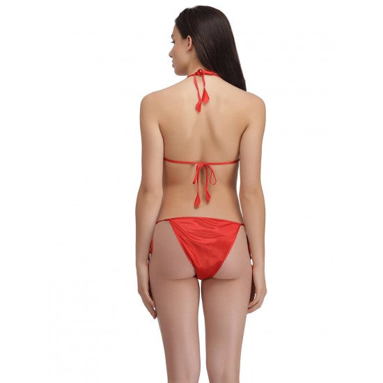Women's Red Silky Bikini Set. E4H-221