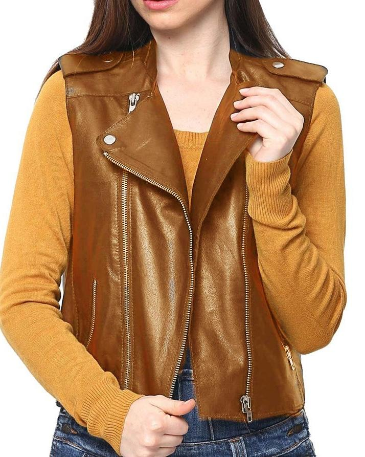 Mustard Leather Jacket For Women