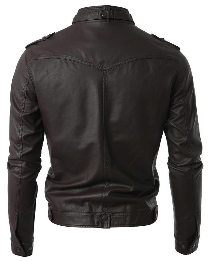 Brown Men Slim Fit Pu Leather Jacket - T4 - Multicolor