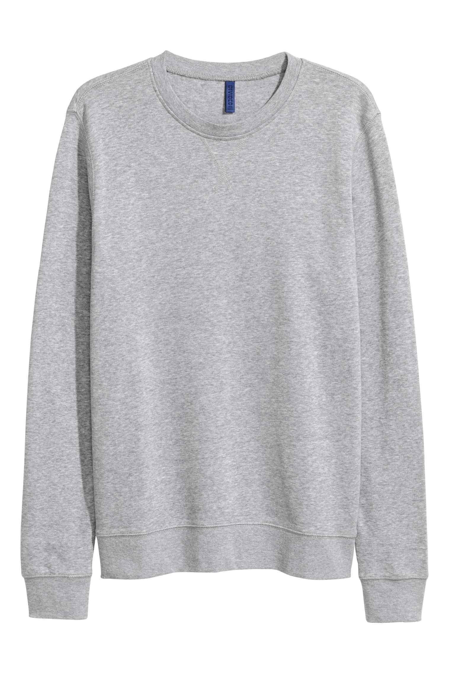 Heather Grey Fleece Solid Sweatshirt For Men