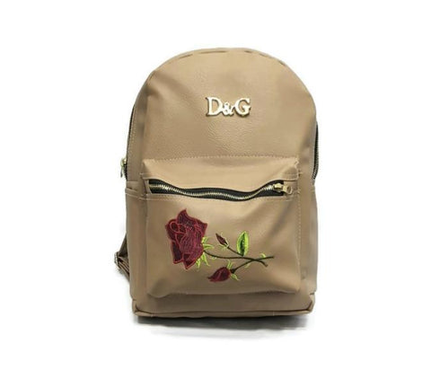 Veisk Fashion Floral Leather Backpack Women Embroidery College & School Bag-rzbeg