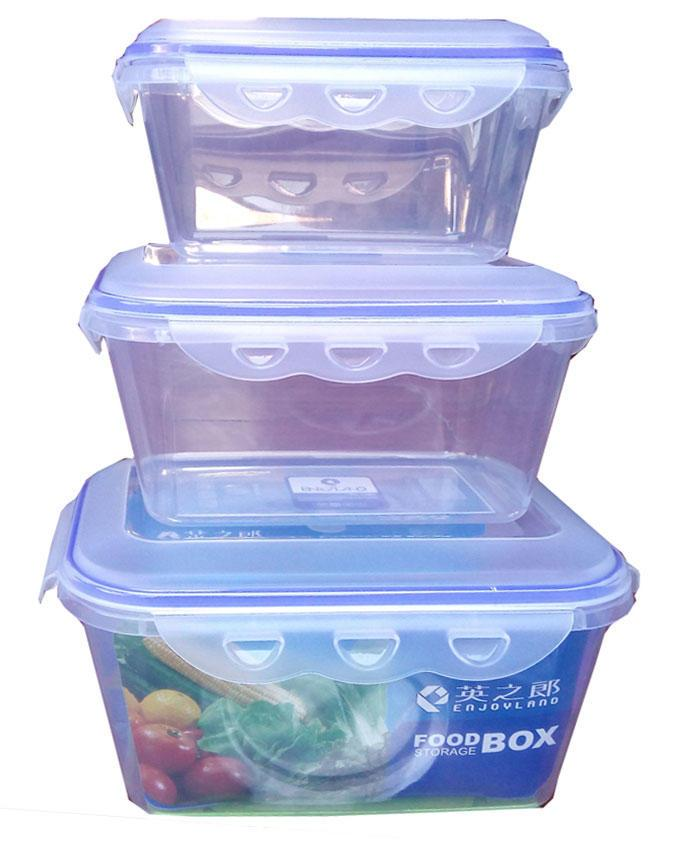 3 Pieces - Buckled Lid Plastic Freezer Boxes