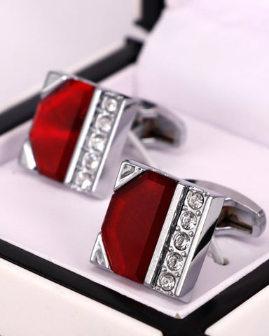 Stainless steel Red and White Crystal Stones men cufflink