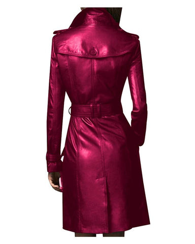 Maroon Leather Long coat For Women