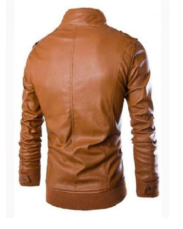 Black Men Slim Fit Pu Leather Jacket - C-BROWN-B666