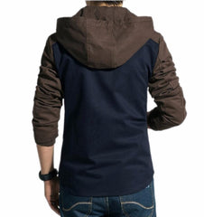 Black Slim Fit Cotton Cargo Pu Leather Jacket For Men