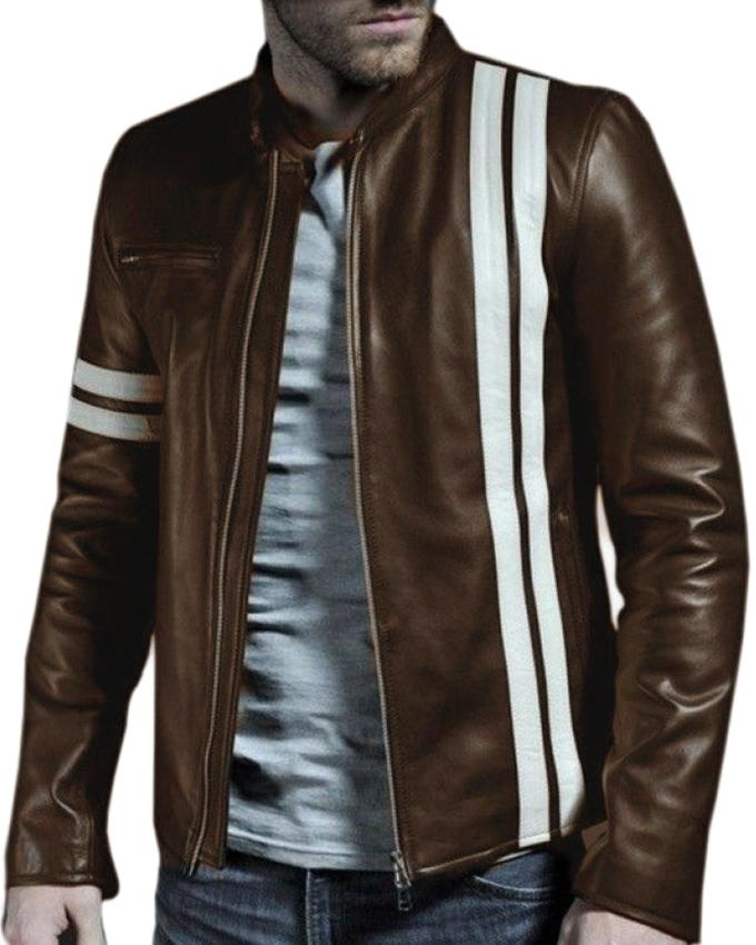 Brown Faux Leather Highstreet Jacket for Men