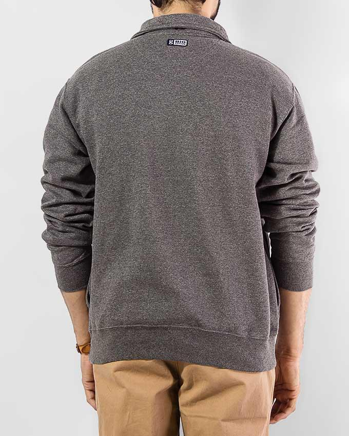 Charcoal Mock Neck Sweatshirt with Quarter Zip