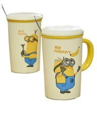Minions Ceramic Mug with Steel Spoon - Pack of 2 - Multicolor