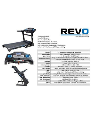 Semi Commercial AC Treadmill - RT180X - with Warranty
