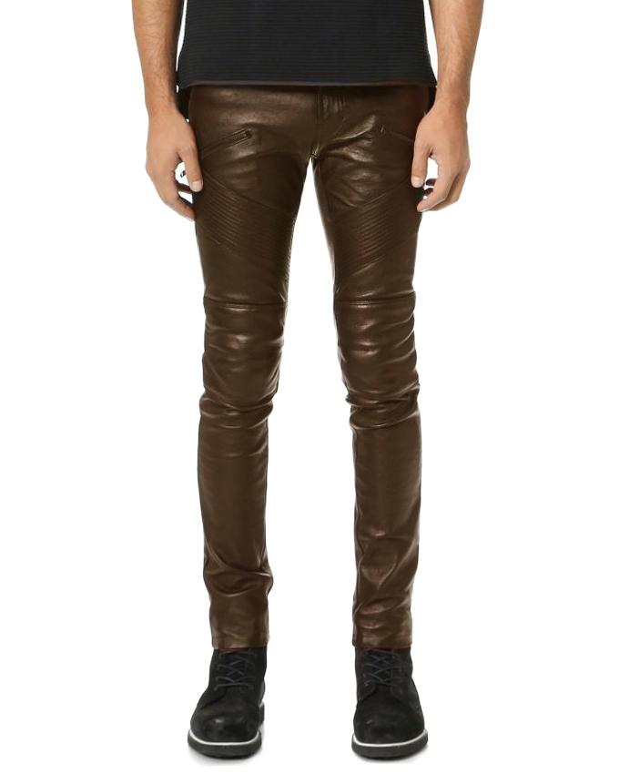 Brown Faux Leather Highstreet Pant for Men