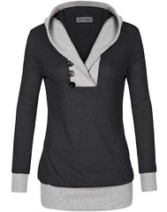 Pime Womens Long Sleeve Hooded Casual Sweatshirt