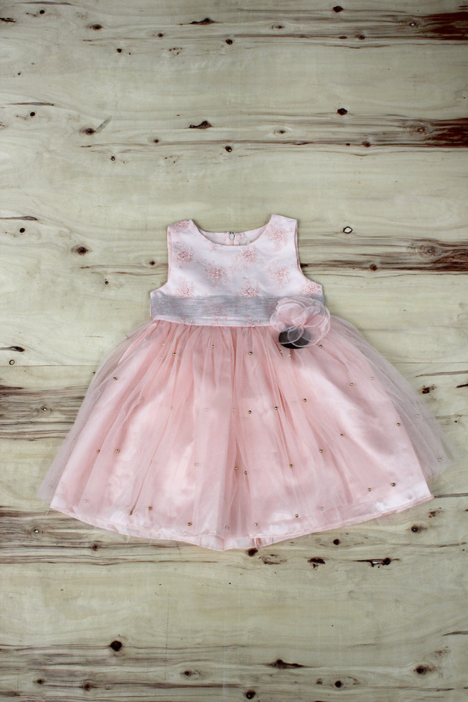 Girls White Frock with Pink flower