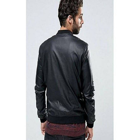 Men's PU Black Bomber Jacket B-01