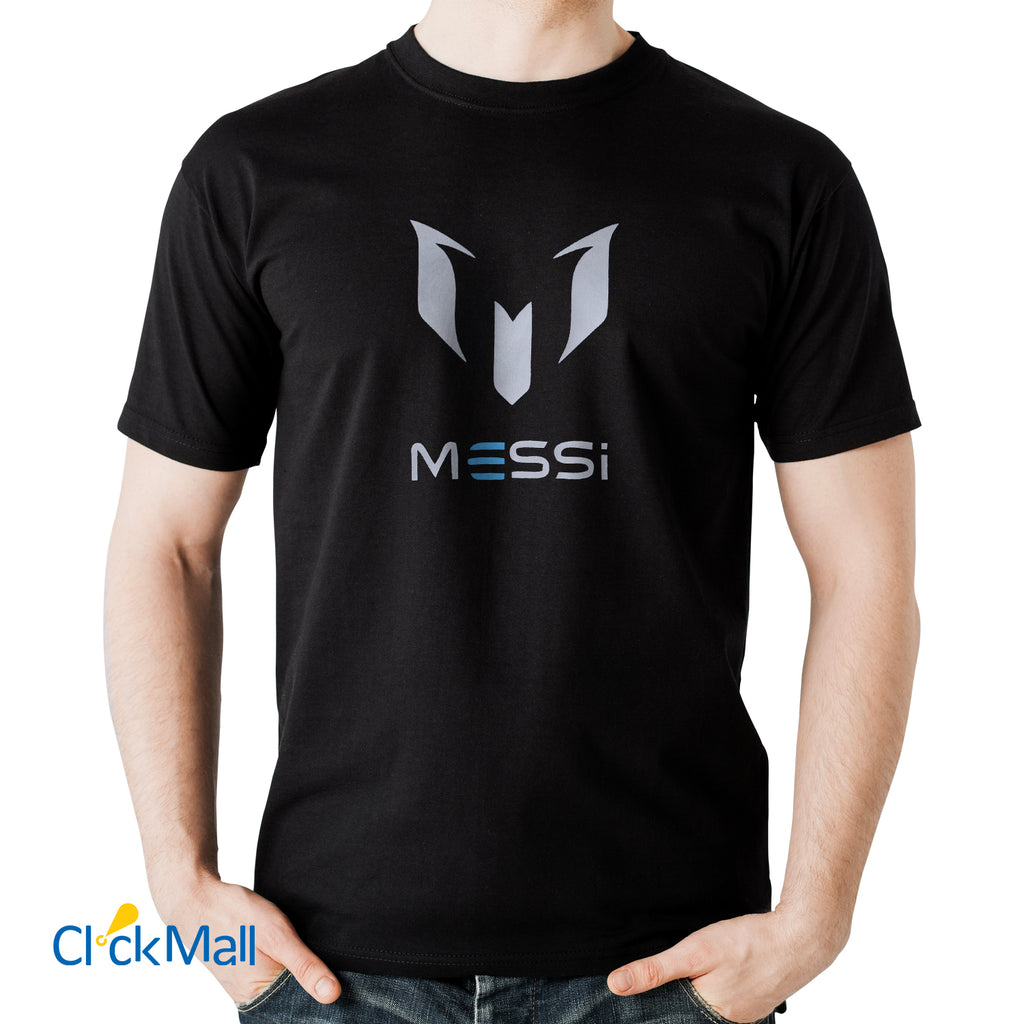 Time Line Black Messi Printed Polyester Sports T Shirt for Men