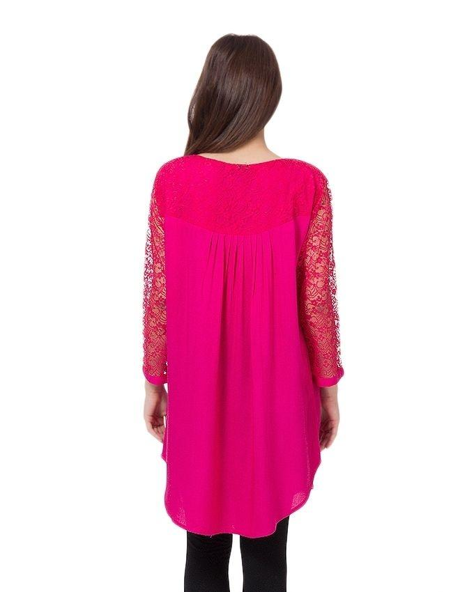 Pink Cotton and Net Top For Women
