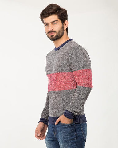 Grey/Red Cotton 2 Color Panel Sweater For Men FW19SWT-05