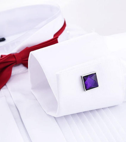 Rhizmal Silver Square Purple Fashion Cufflinks with Free Gift Packaging