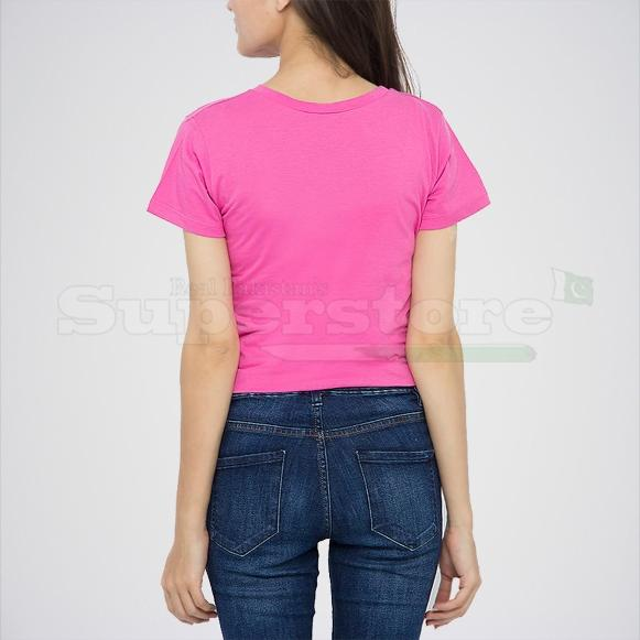 Women's Plain Pink Cotton T-shirt.
