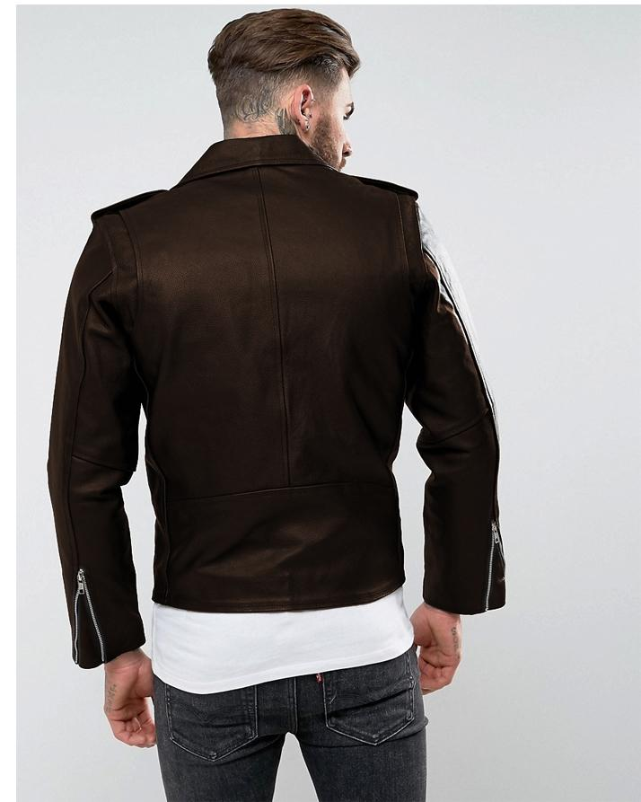 Highstreet Brown Faux Leather Jacket For Men