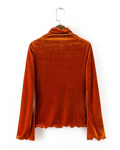 Rust Velvet A-Line T-shirt For Women