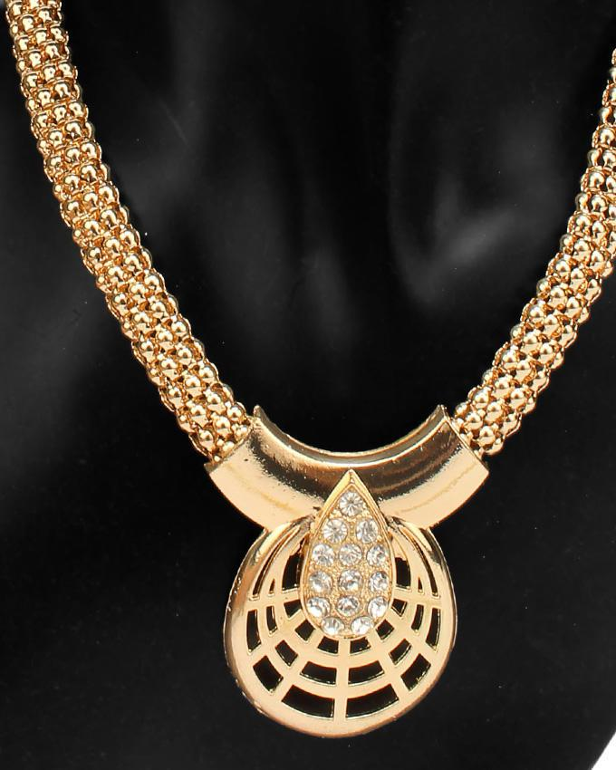 18K Gold Plated Crystal African Costume Fashion Necklace Set