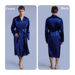 Men's Royal Blue Dual Pocket Satin Silk Nightwear Gown. NN-66