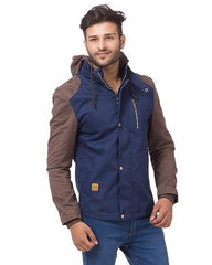 Blue Cotton Cargo Pu Leather Jacket For Men - Mmj-01