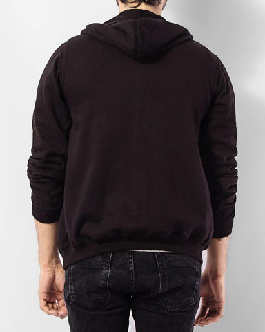 Black Men's Zipper Hooded Jacket