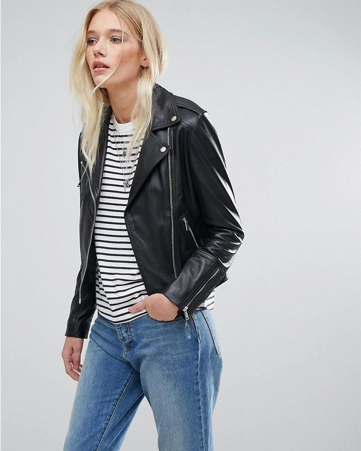Highstreet Black Faux Leather Jacket For Women