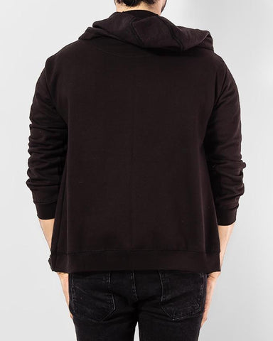 Black Fleece Hoody with Front Zipper