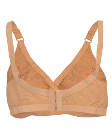 Roses Luxury Soft Cotton 3 Hooks Embroidered Bra for Women - Skin Beige UG-476-32