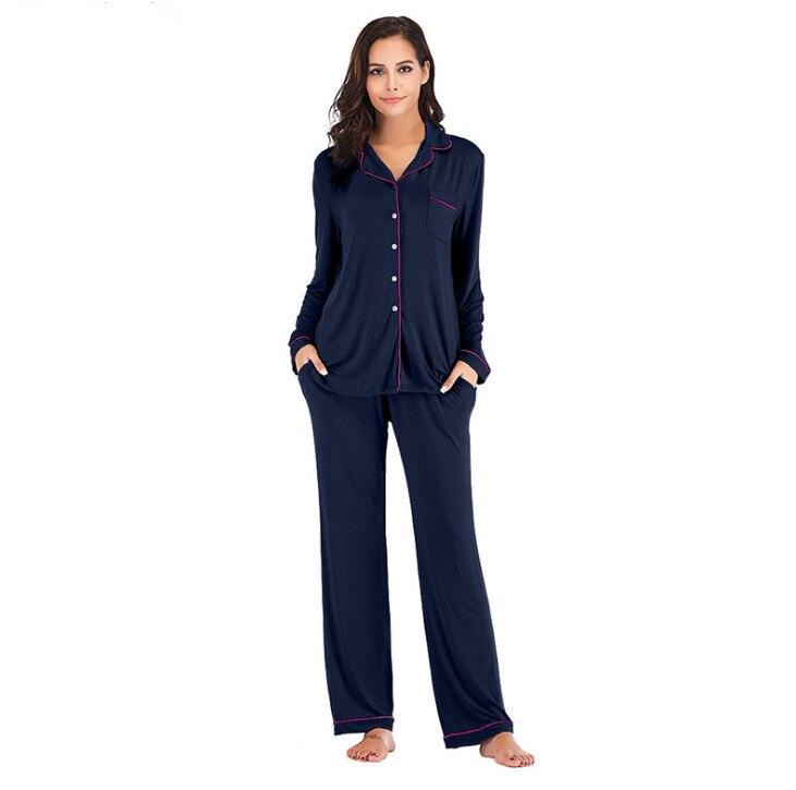 Navy Cotton Long Sleeves Seepwear Pajama Sets For Women. SD-959