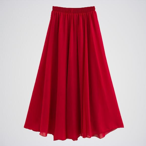 Wine Red Stretched Waist Chiffon Long Skirt E4h-Wrdskt