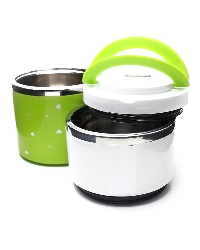 2 Layers Lunch Box - Green & White