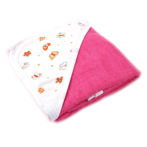 Angel Kids Hooded Double (Thick) Bath Towel For Kids (100% Cotton) 30x30 Inch  Dark Pink