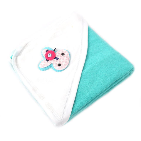 Angel Kids Hooded Single (Thin) Bath Towel For Kids (100% Cotton) 30x30 Inch  Neon